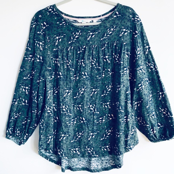 Boden Tops Forest Green Floral Flowy Cotton Top L Poshmark